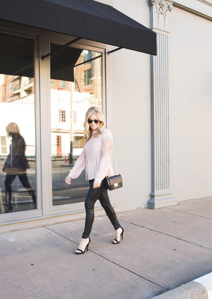 blush pink lace blouse - black coated skinny jeans - henri bendel black crossbody - dallas fashion blogger - brooke burnett