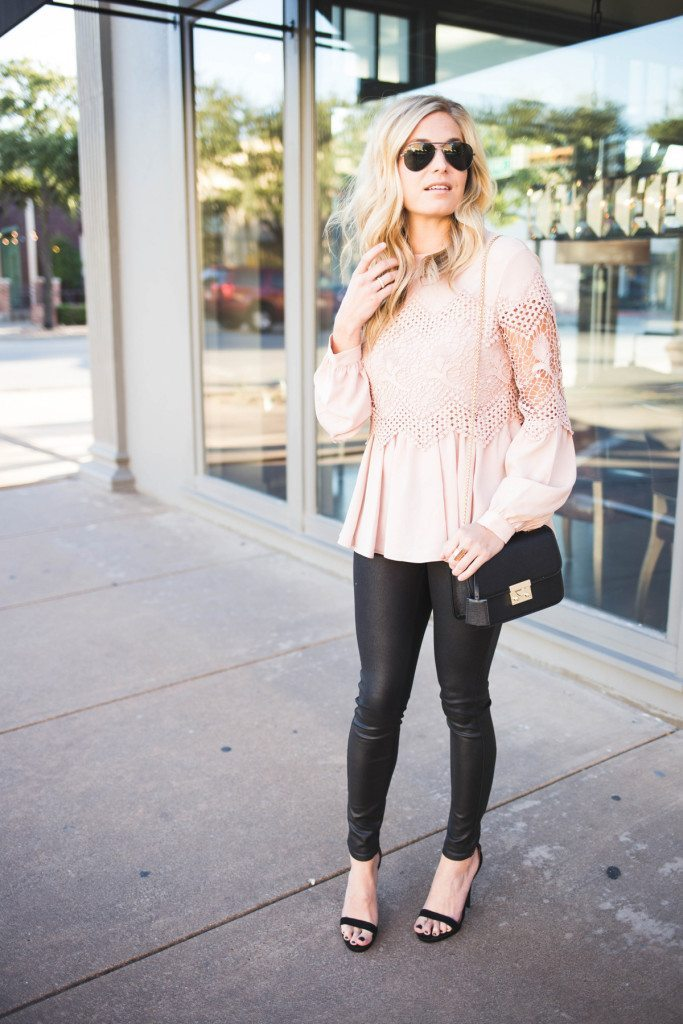 long sleeve pink lace blouse - henri bendel gold chain crossbody