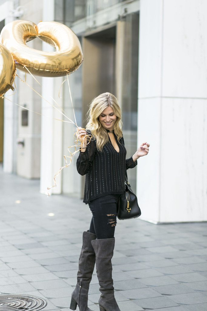 black long sleeve blouse - gray over the knee boots