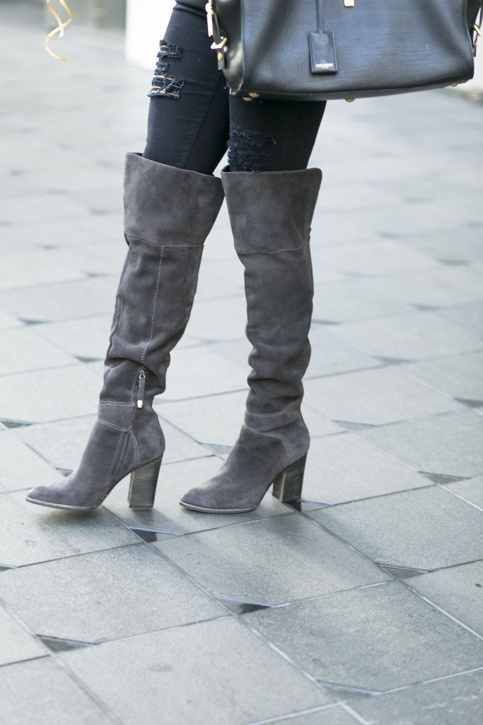 vince camuto gray over the knee boots - suede over the knee boots dark gray