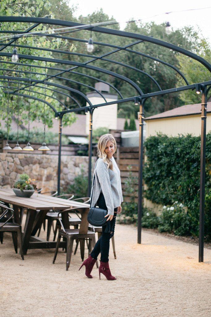 topshop zip side sweater - grey side zip sweater - rebecca minkoff burgundy peep toe booties - brooke burnett - fashion blogger dallas