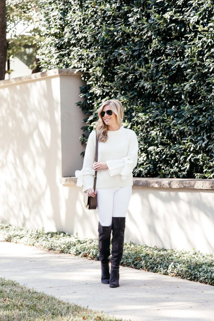 white bow sleeve sweater