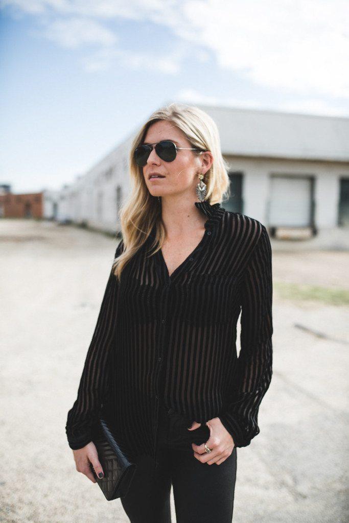 velvet stripe blouse - chic at every age
