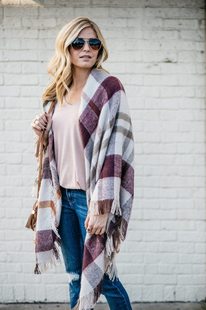 plaid blanket wrap