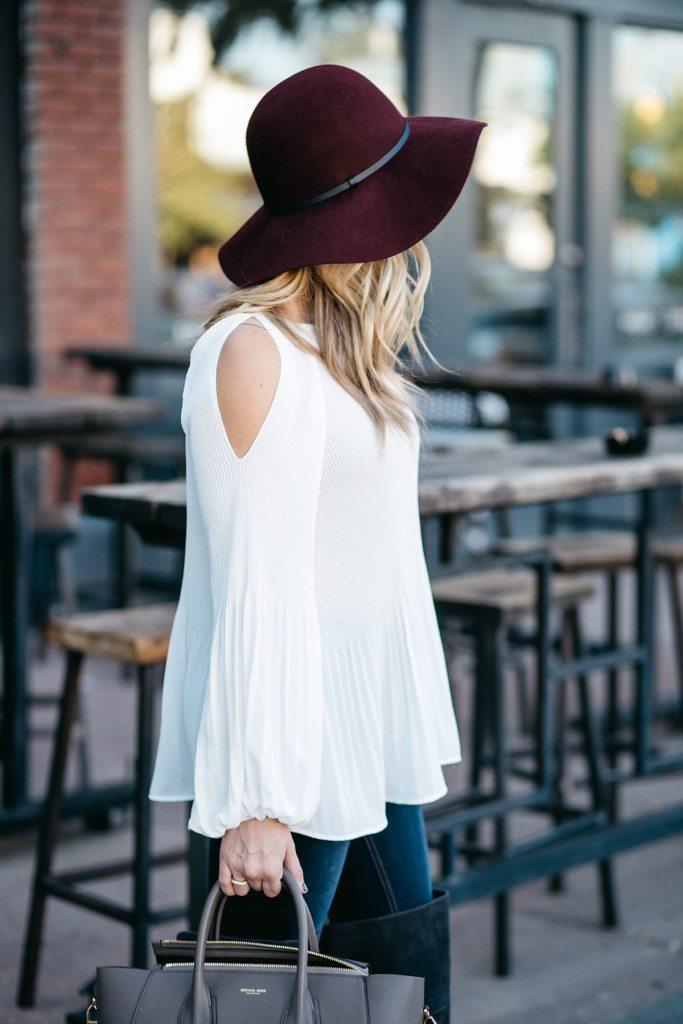 pleated cold shoulder blouse - burgundy floppy hat