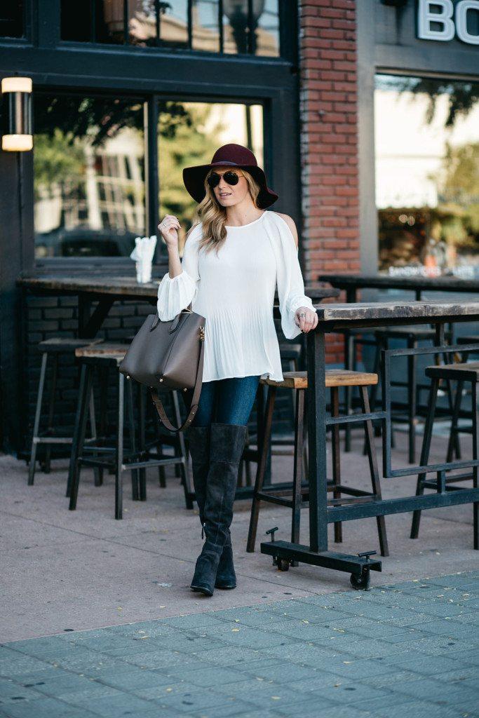 white cold shoulder blouse - brooke burnett