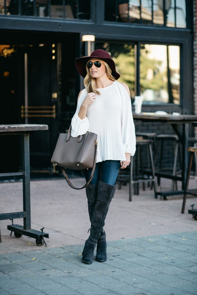 white cold shoulder blouse outfit