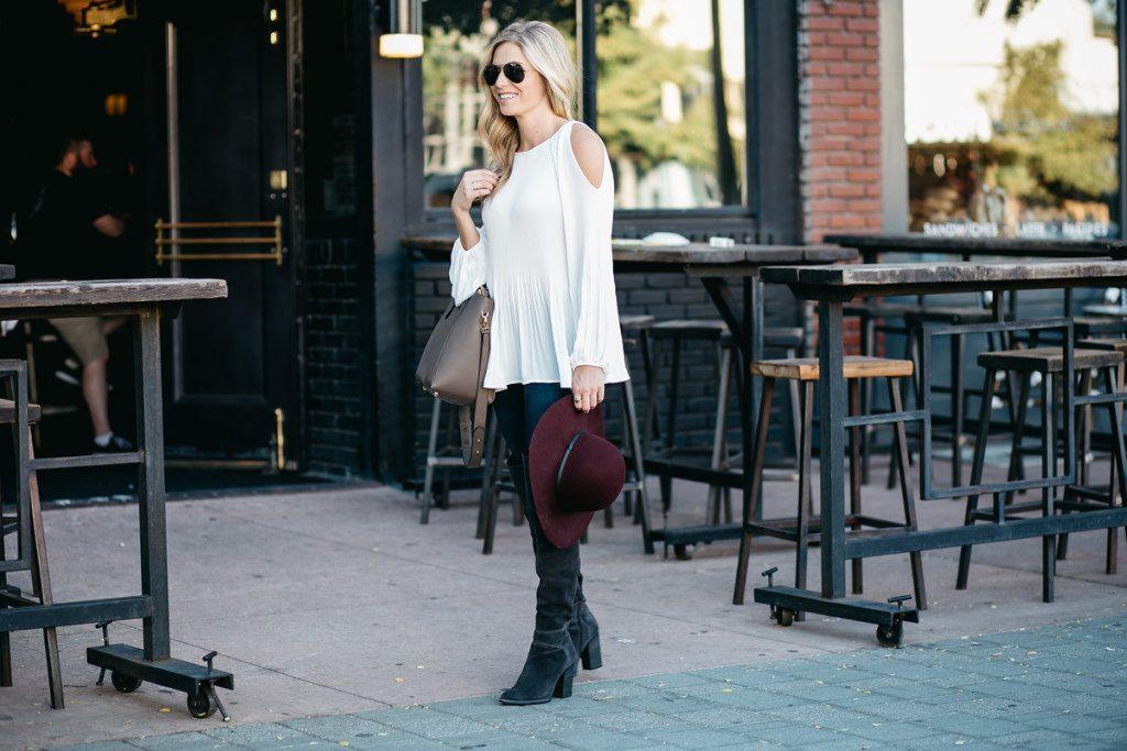 cold shoulder blouse white - brooke burnett blogger - basic white blouse