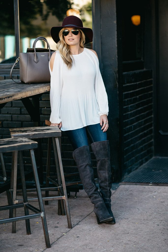 white cold shoulder blouse - over the knee boots - burgundy hat - dallas fashion blog