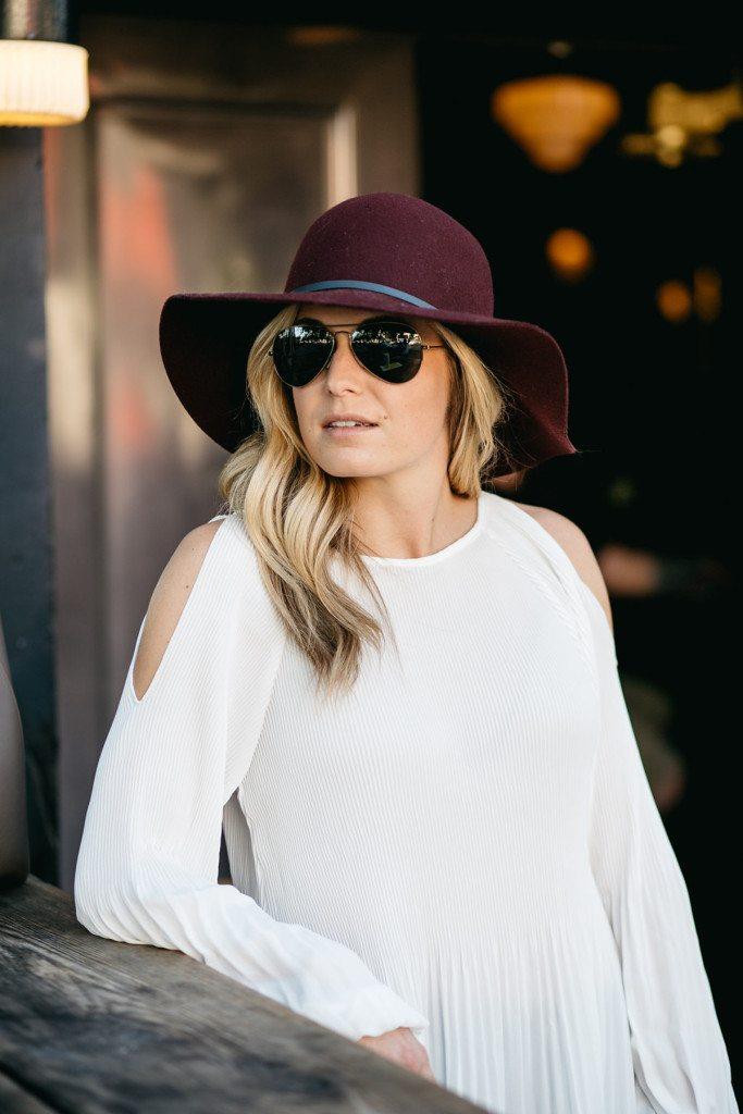 cold shoulder blouse - burgundy floppy hat