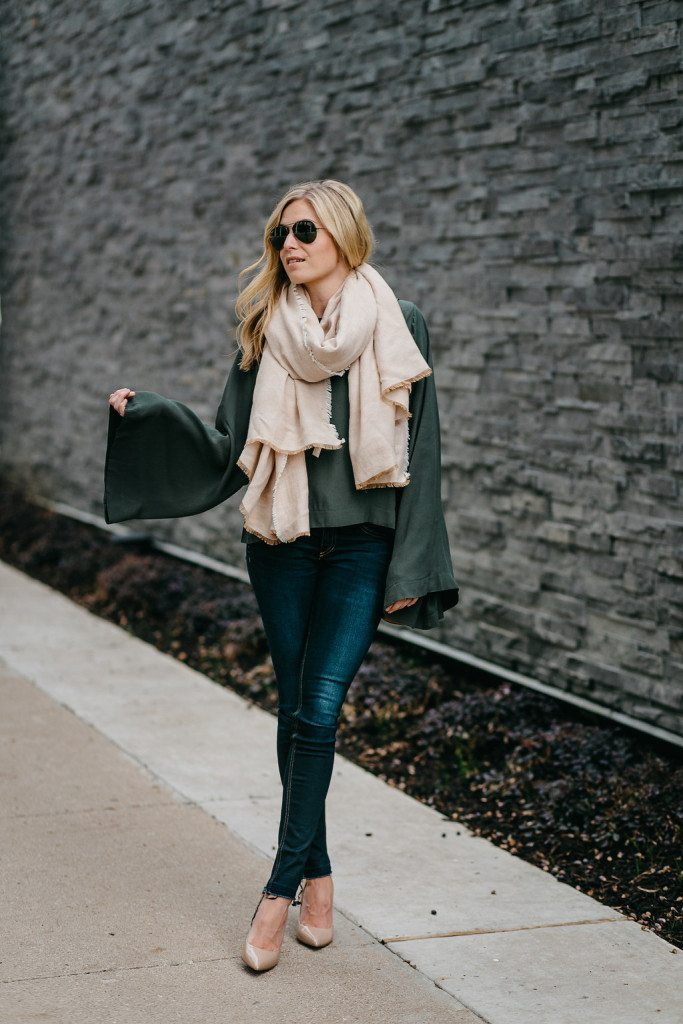 olive bell sleeve blouse - tan blanket scarf - nude patent pumps - dallas fashion blogger - brooke burnett