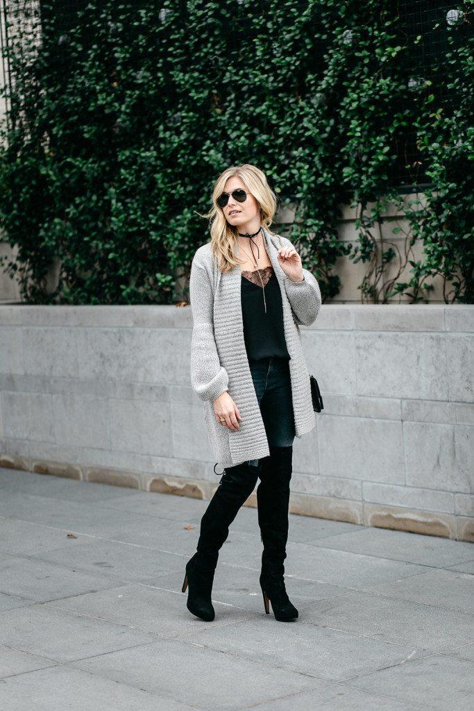 gray sweater cardigan