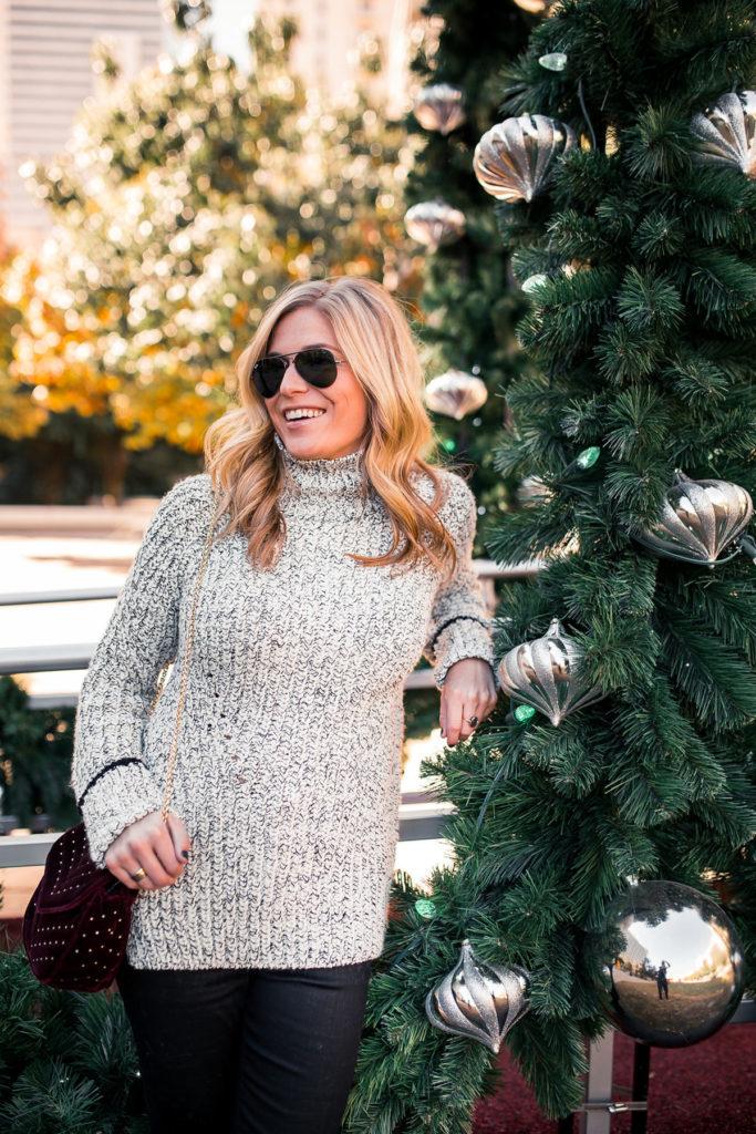 Topshop Stripe Cuff Funnel Neck Sweater