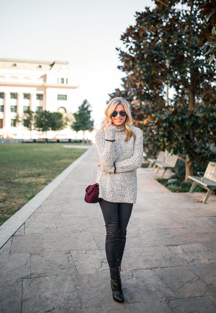 Topshop Stripe Cuff Funnel Neck Sweater - dallas fashion bloggers