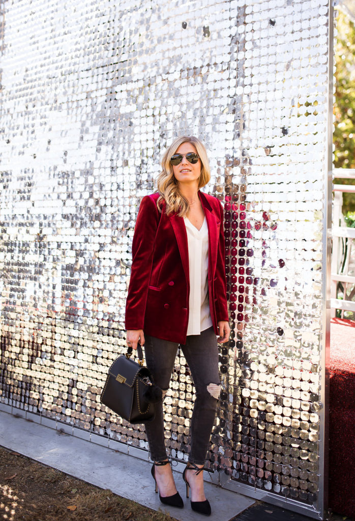 red velvet blazer - holiday party outfit