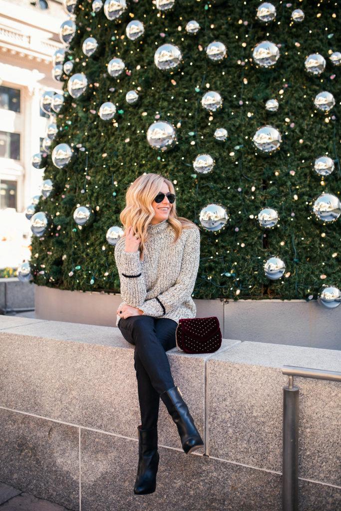 Topshop Stripe Cuff Funnel Neck Sweater - topshop chunky sweater - studded velvet purse - burgundy velvet purse - dallas fashion blogger - brooke burnett