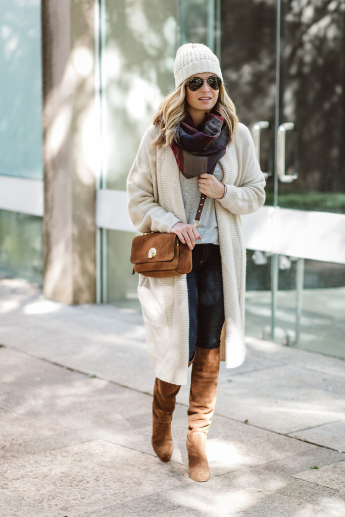 casual winter boots and scarves