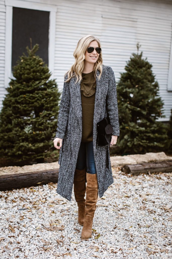 long tweed coat for winter - tweed duster coat - casual winter outfit - tan over the knee boots - brooke burnett