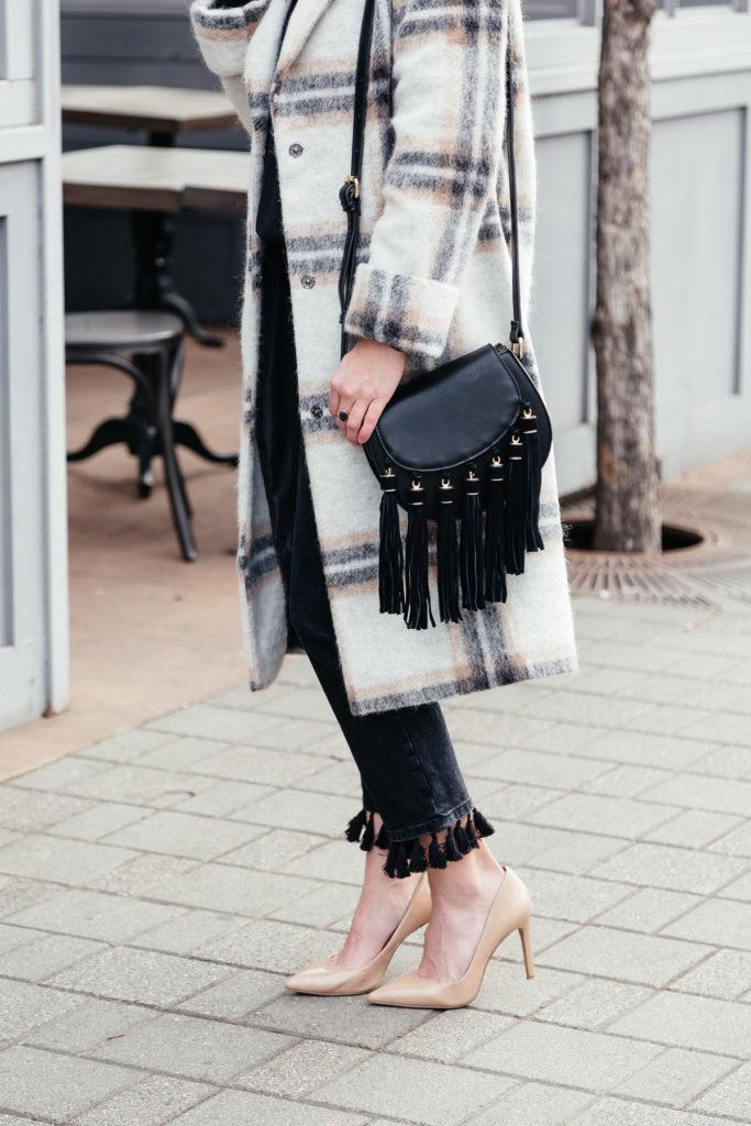 fringe crossbody purse - nude patent pumps - plaid coats