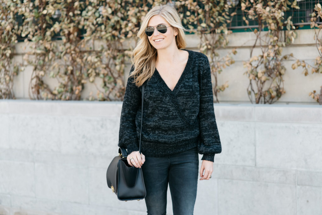 winter sweater sales - dark gray sweater - zac zac posen bag