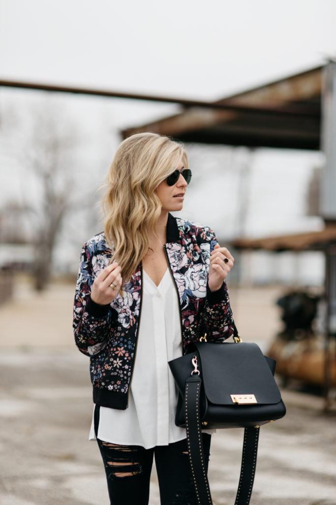 bomber jacket trend, zac zac posen ertha bag, bomber jacket outfit idea