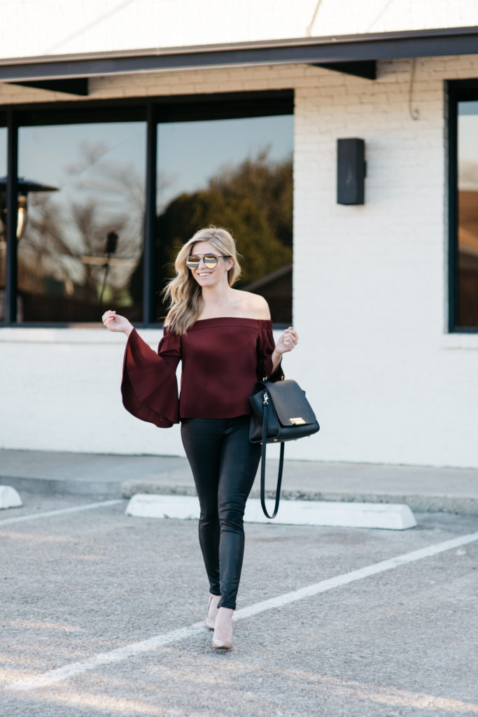 burgundy off the shoulder top, brooke burnett, valentines day outfit, dallas fashion blogger, topshop off the shoulder