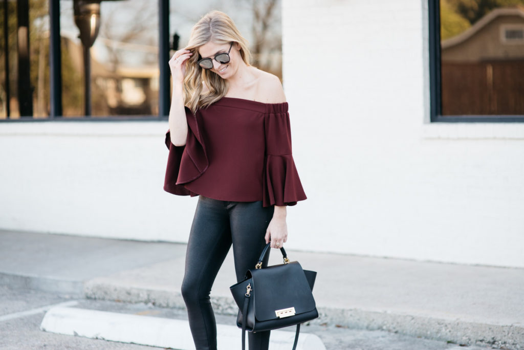 zac zac posen purse black, off the shoulder top burgundy