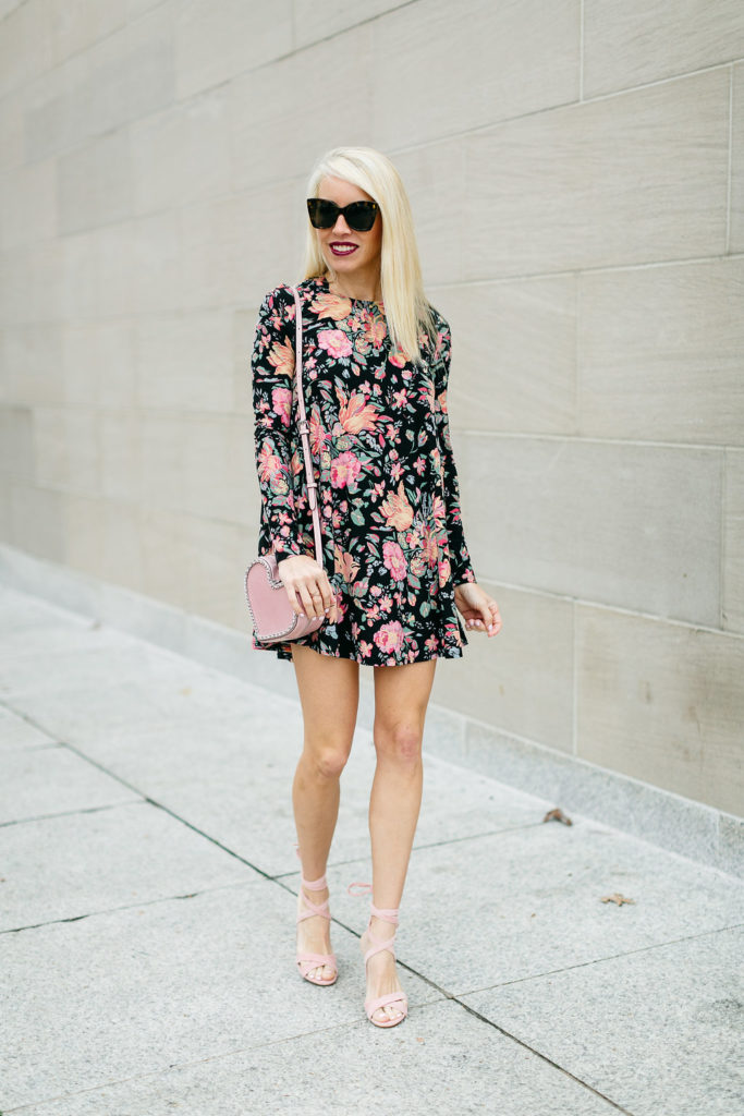 the real fashionista, galentines day dresses, floral long sleeve dress