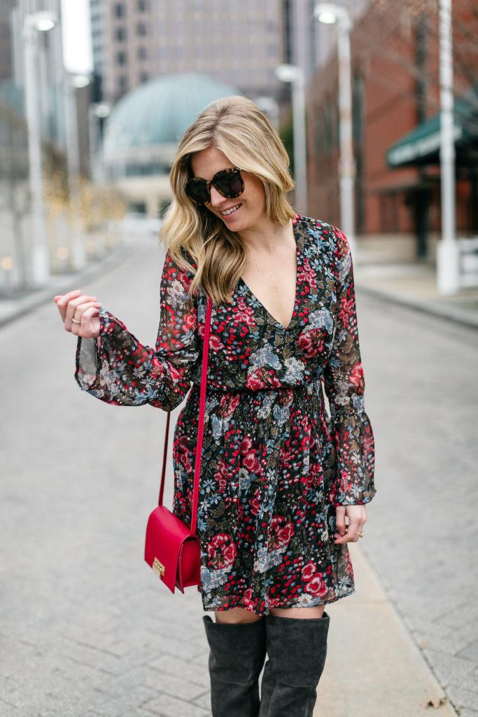 valentines day dress, red purse