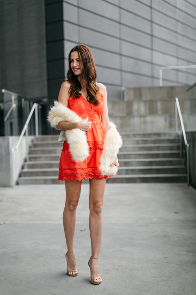 the miller affect, galentines day dresses, orange lace dress