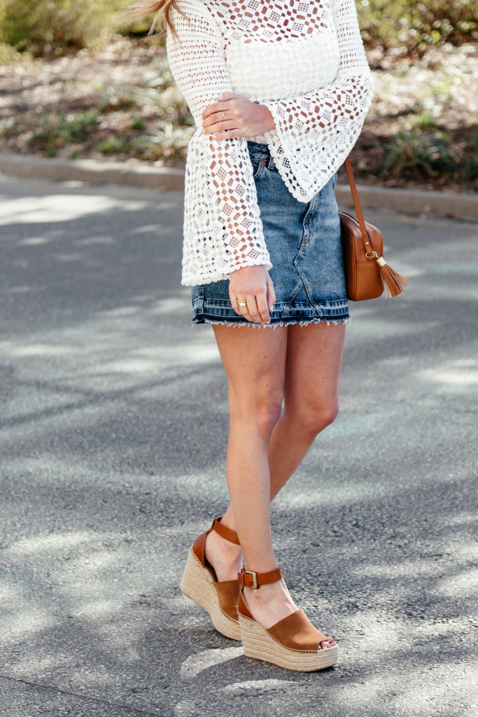 topshop frayed hem denim skirt, marc fisher espadrilles, white lace top