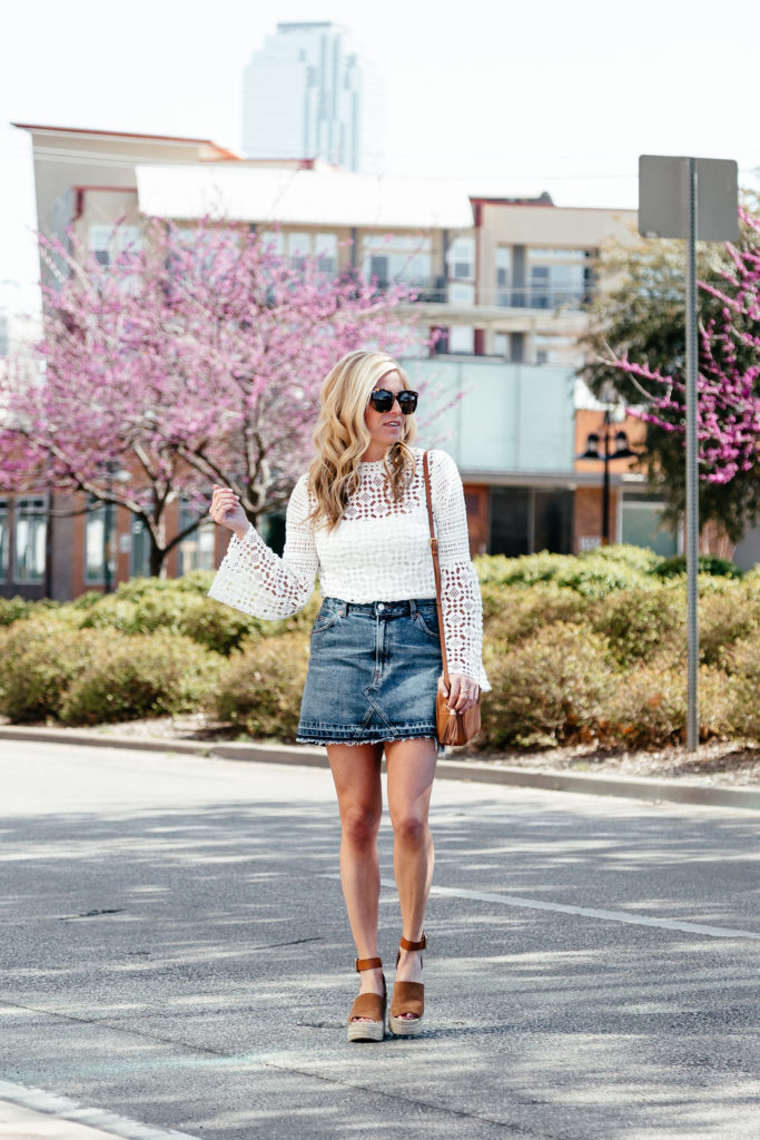 white lace bell sleeve blouse, denim skirt for spring, espadrille wedges, dallas fashion blogger, brooke burnett