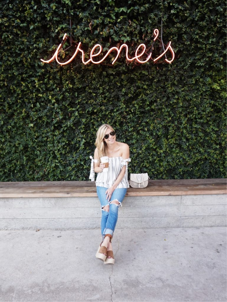 irenes austin, stripe off the shoulder top, espadrille wedges, ripped jeans, dallas fashion blog