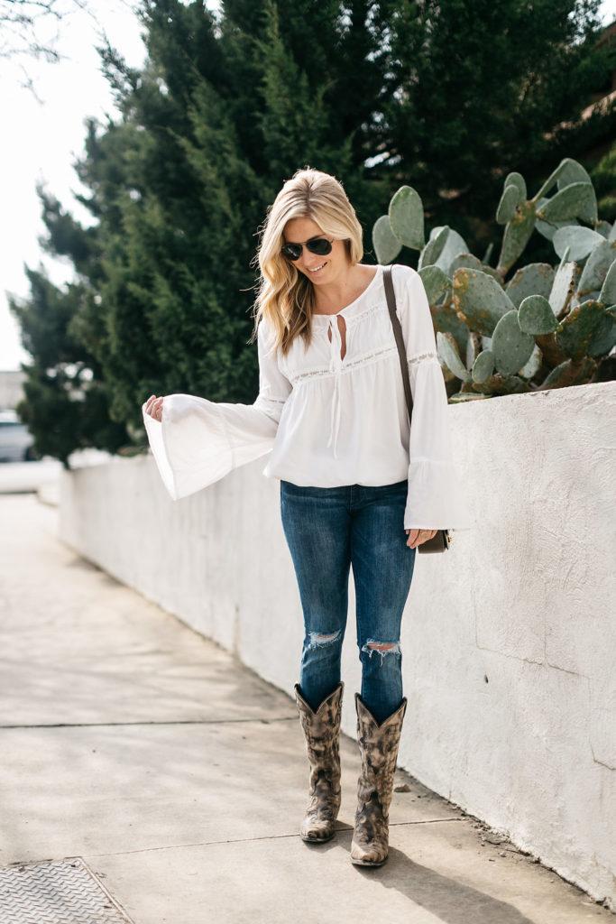 three ways to wear cowboy boots, white flare sleeve blouse, cowboy boots, brooke burnett, dallas fashion blogger, houston rodeo 2017