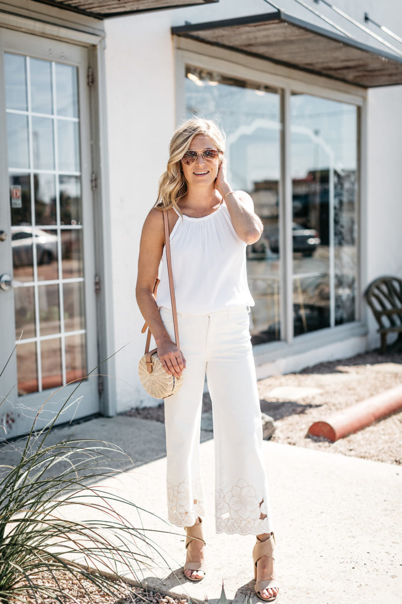 white outfits for summer | cropped wide jeans
