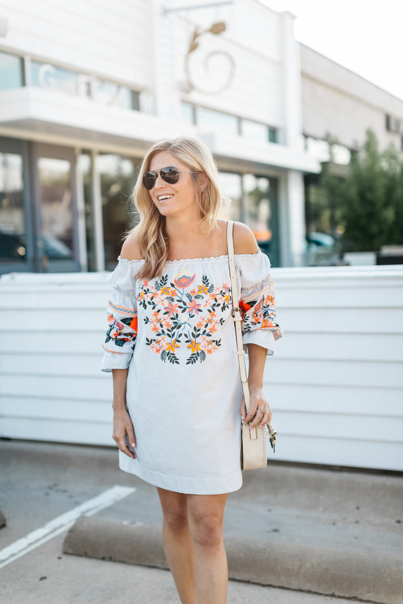 embroidered off the shoulder dress | EMBROIDERY SUMMER TREND