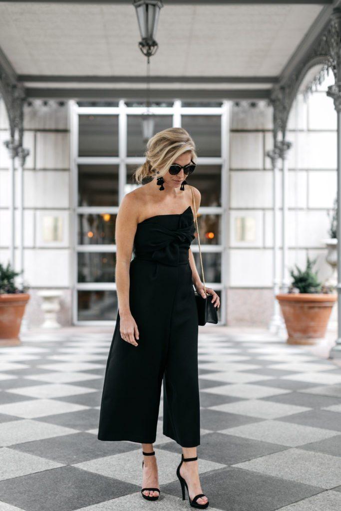 Strapless Black Jumpsuit Black Tie Optional Event Outfit