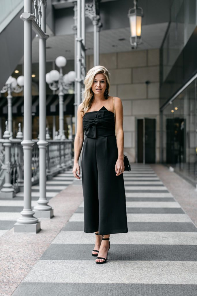 Strapless black jumpsuit black tie optional event outfit idea i have another wedding this weekendsurprise surprise but im super excited because its a black tie optional wedding in my opinion when an event is junglespirit Gallery