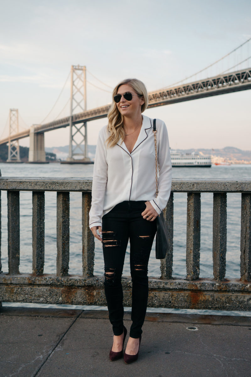 pajama top trend, classic black and white outfit, san francisco style, nordstrom anniversary sale tops, dallas fashion blogger