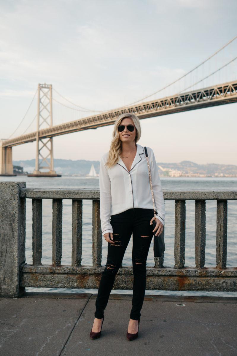 black and white pajama top, distressed skinny black jeans, brooke burnett, dallas style blogger