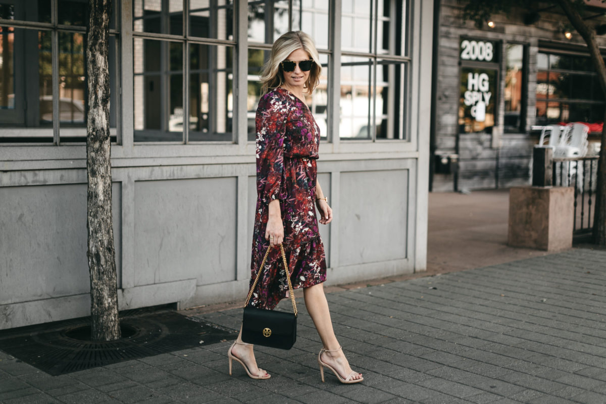 floral one shoulder dress, dallas fashion blogger