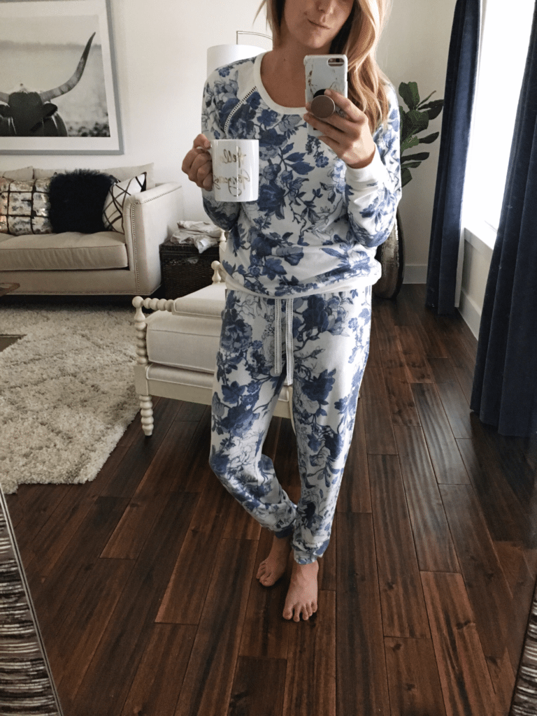 blue floral pajamas
