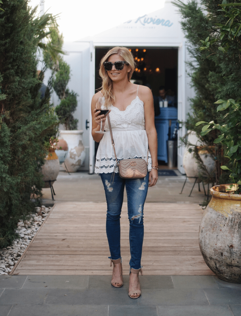 white lace cami, gucci crossbody bag