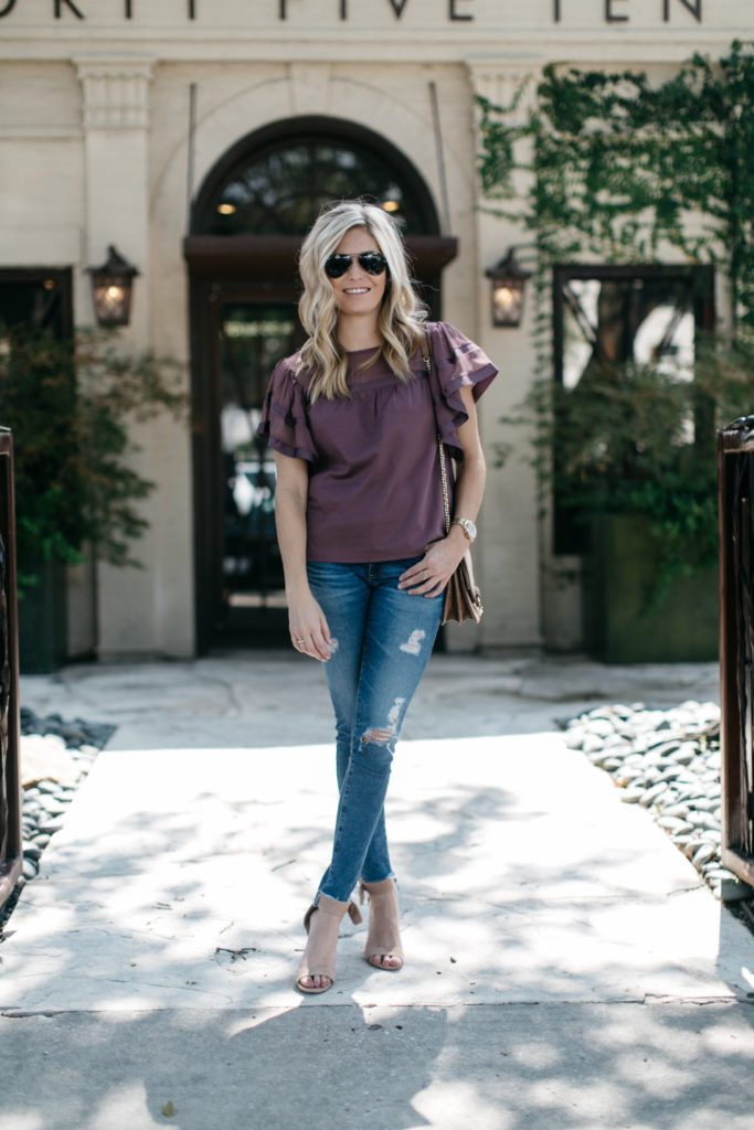 burgundy ruffle sleeve shirt