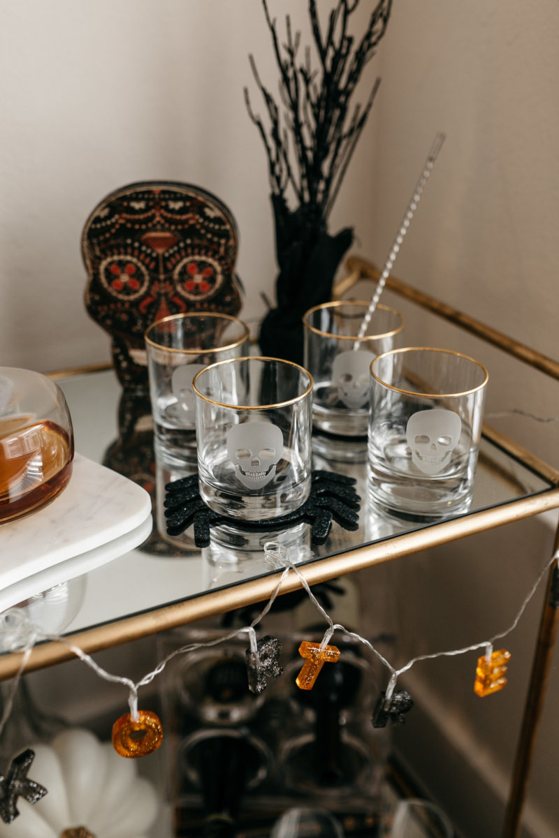 bar cart decor, halloween decorations, fall trends