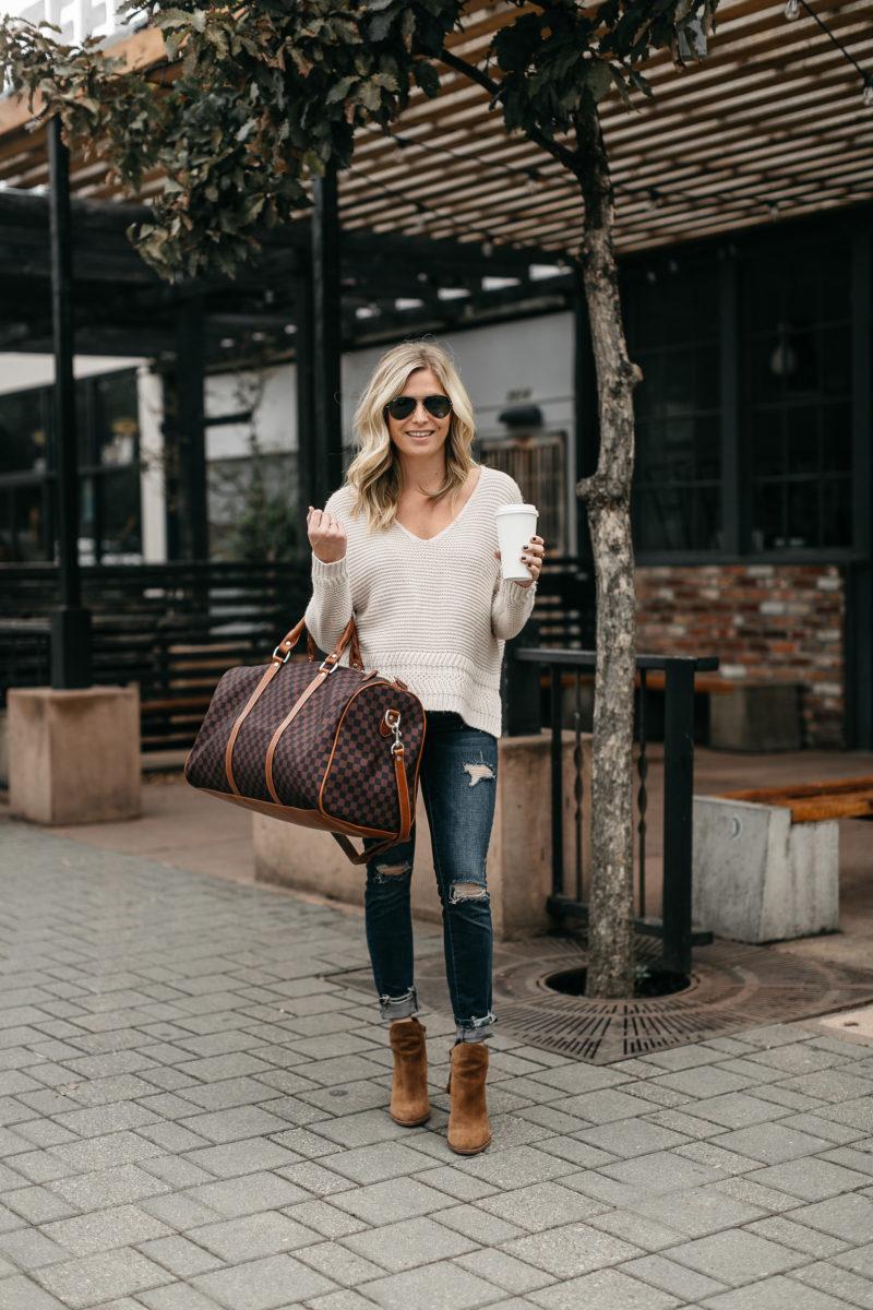 fashion blogger, fall fashion, travel bag