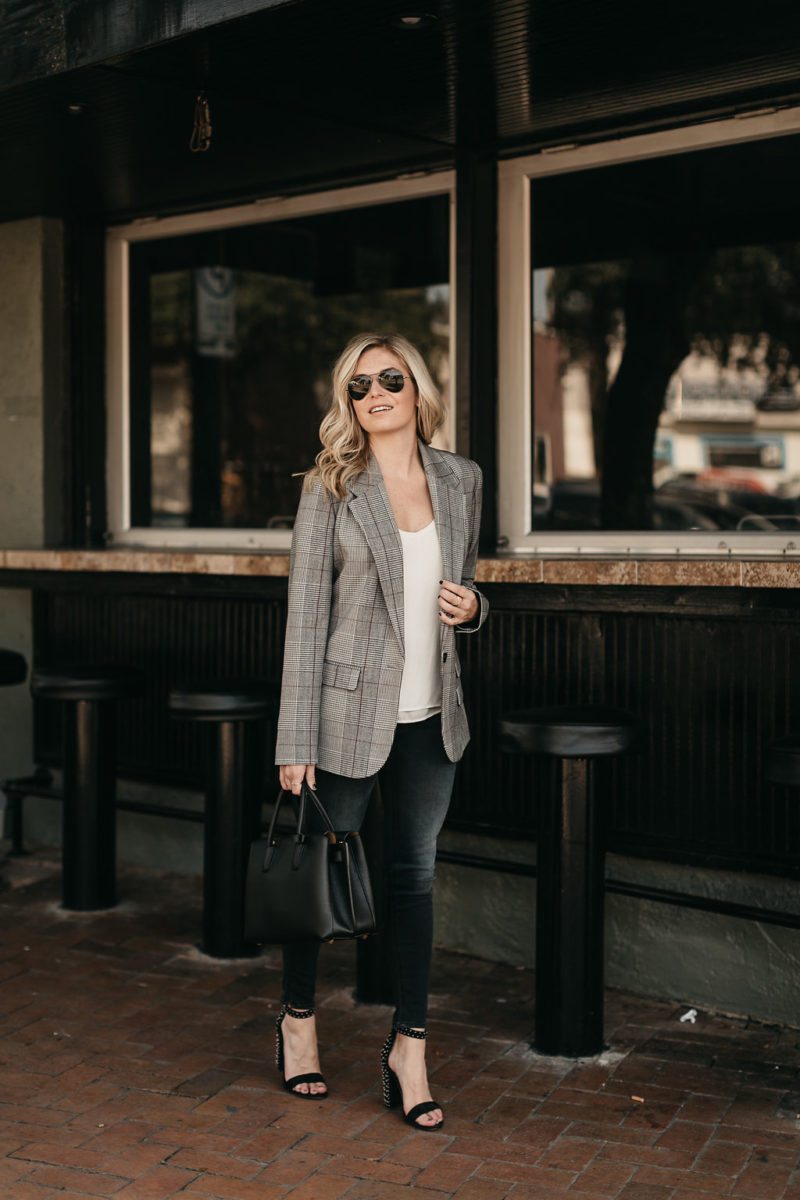 fall layers, transition items, checked blazer