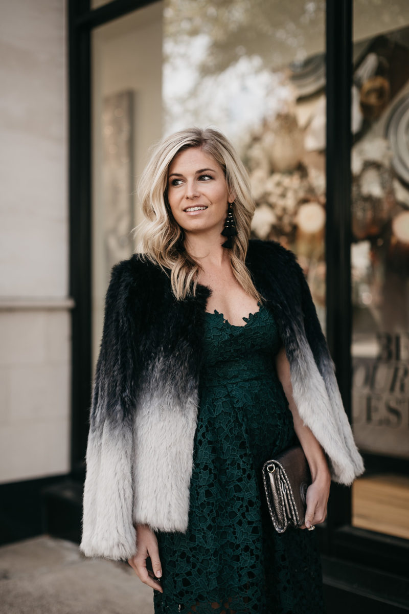 holiday party, party dress, fur coat