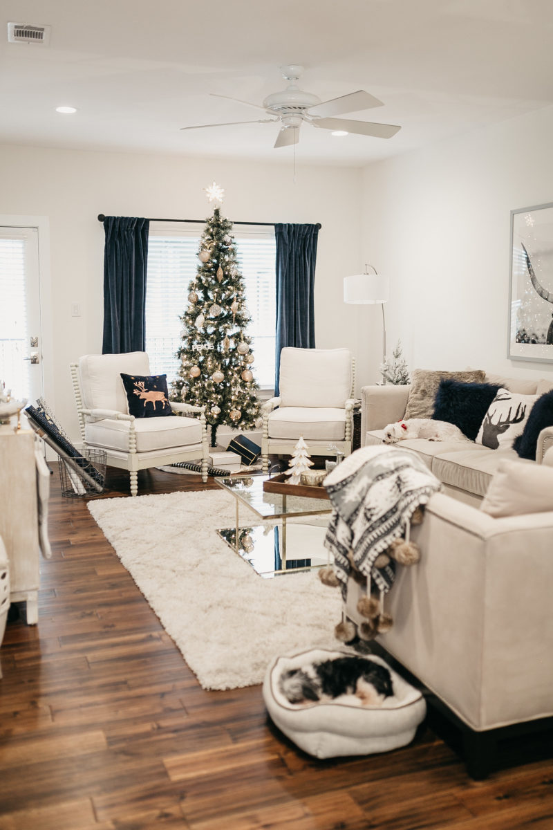 living room with holiday gifts for home
