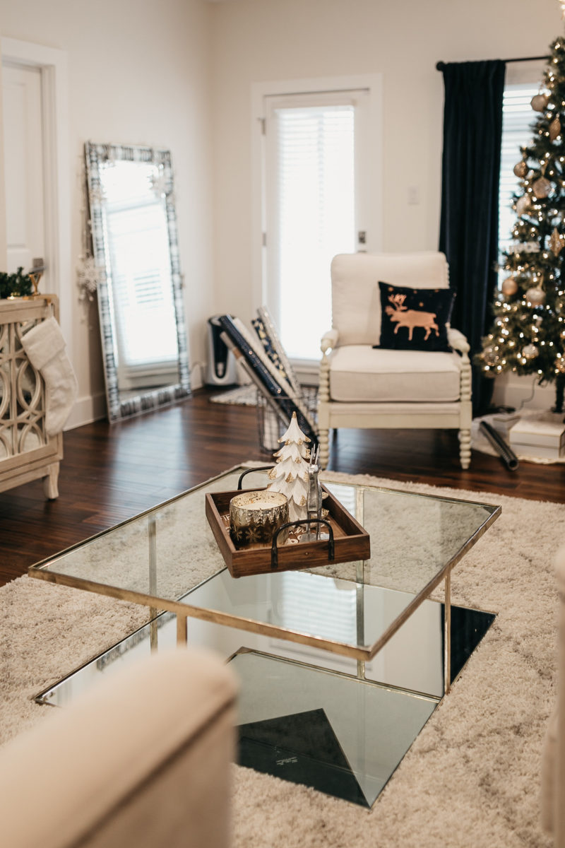 glass coffee table in a living room